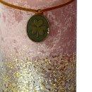Stumpenkerzen fliederfarben mit goldenem Glitzer im 2er Set