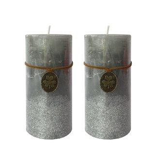 Stumpenkerzen Grau mit silbrnem Glitzer im 2er Set