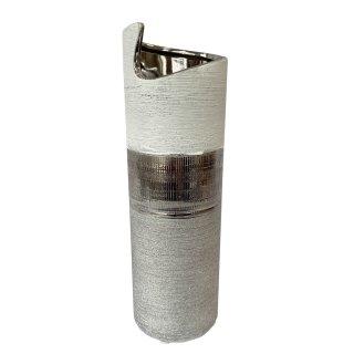 Moderne Keramik Vase weiss/silber