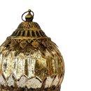 LED Windlicht aus Glas & Metall gold schwarz