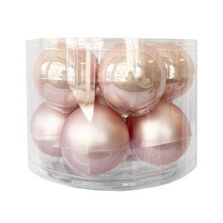 Glas Weihnachtskugeln rosa im 10er Set
