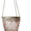 Orientalisches Windlicht aus Glas rosa silber