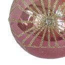 Weihnachtskugel pink Glitzer 2er Set