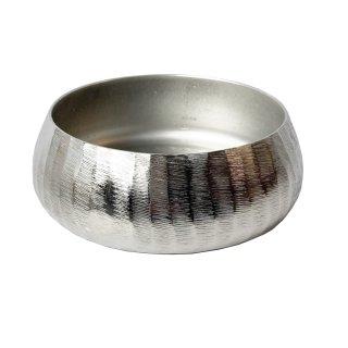 Moderne Schale rund silber strukturiert klein