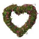 Deko Moos Herz mit pinken Blüten