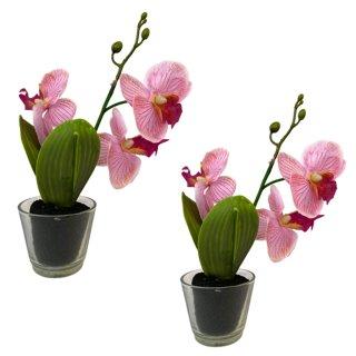 Mini Deko Orchidee im 2er Set rosa