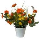 Deko Vintage Blumentopf mit Henkel Orange