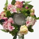 Blumenkranz mit Teelicht-Glas ca. 25 cm