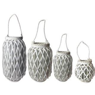 Laterne aus Bambus weiß 4 verschiedene Größen