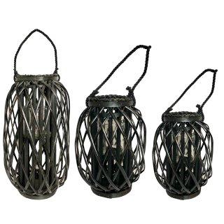 Laterne aus Bambus schwarz 3 verschiedene Größen