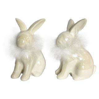 Keramik Hasen im 2er Set weiß