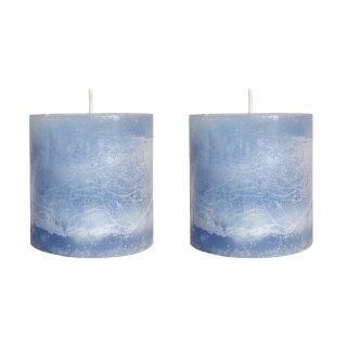 Echtwachs Kerzen im 2er Set hellblau klein