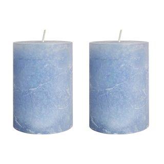 Echtwachs Kerzen im 2er Set hellblau groß