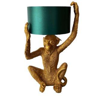 Exklusive Tischlampe Affe gold/türkis