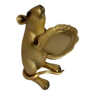 Süße Ratte mit Tablett in gold