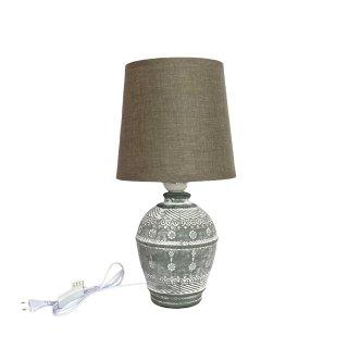 KeramikTischlampe grau weiss braun