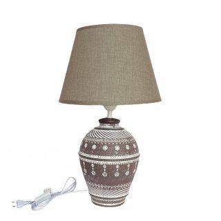 KeramikTischlampe braun weiss