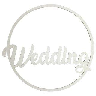 """Holz-Schild """"Wedding"""" weiss"""