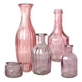 Glas Vasen und Teelicht im 5er Set rosa/altrosa gemischt