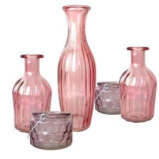 Glas Vasen und Teelichter im 5er Set rosa/altrosa gemischt
