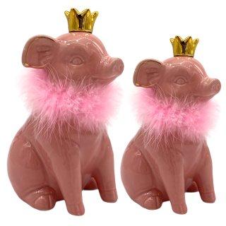Sparschweine rosa mit Krone in 2 verschiedenen Größen