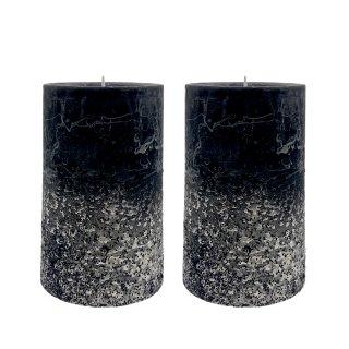 Stumpenkerzen schwarz/silber mit schwarzem Glitzer  im 2er Set