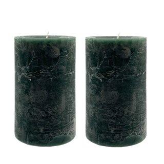 Stumpenkerzen grün im 2er Set