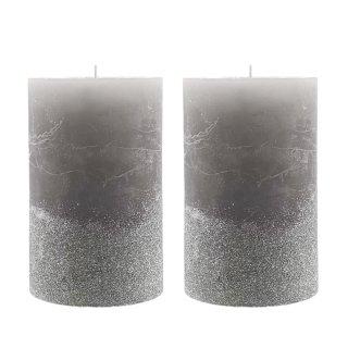 Stumpenkerzen grau mit silbernen Glitzer im 2er Set