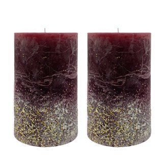 Stumpenkerzen bordeaux/silber mit goldenem Glitzer im 2er Set