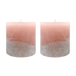 Stumpenkerzen rosa mit silbernen Glitzer im 2er Set