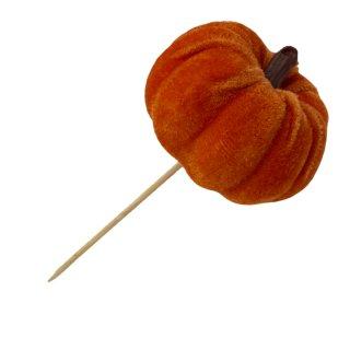 Herbst Mini Deko Kürbis aus Samt orange zum stecken 8 cm