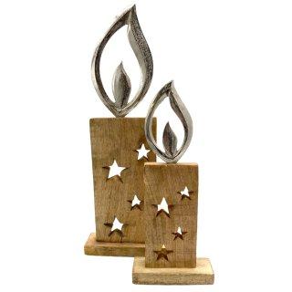 Holzaufsteller Kerzen mit silberner Flamme in 2 verschiedenen Größen