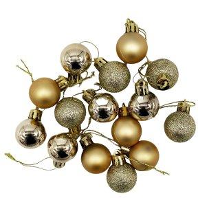 Mini Christbaumkugeln gold im 15er Set