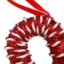 Deko Zuckerstange rot / weiss glitzer ca. 20 cm
