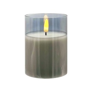LED Echtwachs-Kerze im Glas grau ca. 10 cm