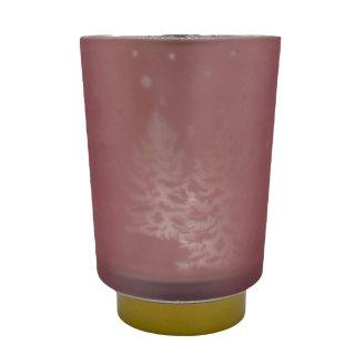 Teelicht-Glas Tannenbaum rosa silber ca. 14,5 cm