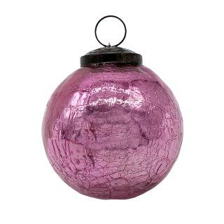 Christbaumkugel Glas pink bruchoptik ca. 10 cm