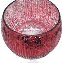 Glaspokale / Windlicht / Kelch rot glänzend gerilltt im 3er Set