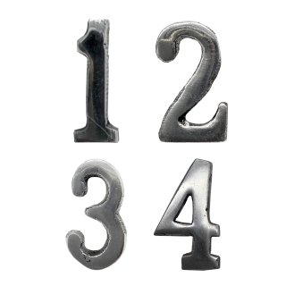 Advents- Kerzen Zahlen 1-4 silber ca. 3 cm