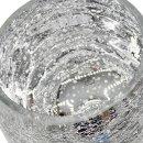 Glaspokal / Windlicht / Kelch silber gesprenkelt ca. 30 cm
