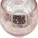 Glaspokal / Windlicht / Kelch rosa gesprenkelt ca. 30 cm