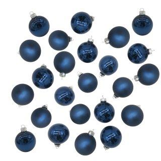 Glas Christbaumkugeln 24er Set blau Ø ca. 2,5 cm